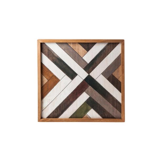 Cosy & Trendy Dienblad Vierkant Houtmotief 35,6 x 35,6 x h 3 cm