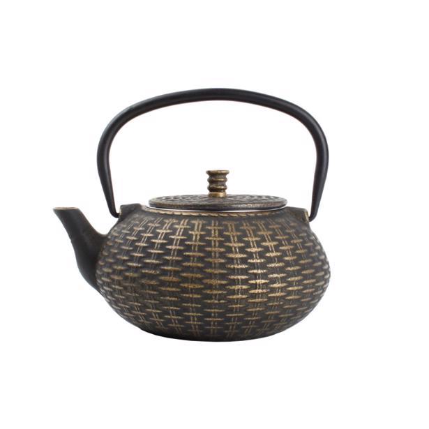 O-Tea Theepot 0.8L Gietijzer Goud op Zwart Fabric