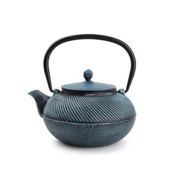 O-Tea Theepot 0,9L Gietijzer Twisting Turquoise