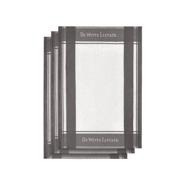De Witte Lietaer Set van 3 keukenhanddoeken White-Plum Kitten 3/50x70 cm