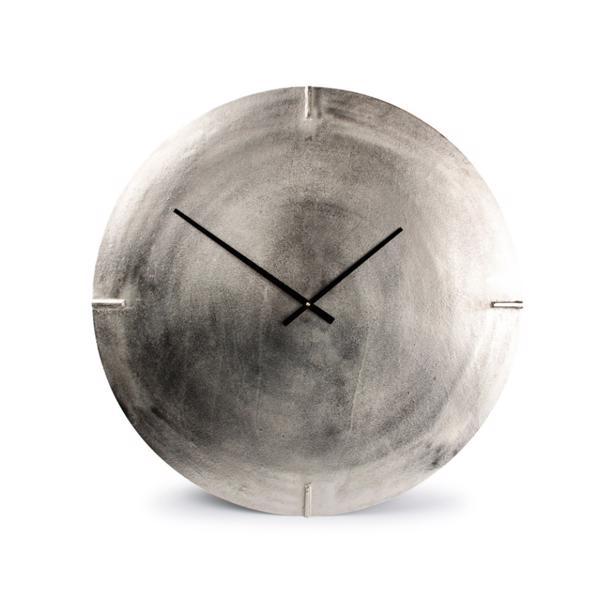 Salt & Pepper Wandklok 74cm Round Metal Silver Colour Zone
