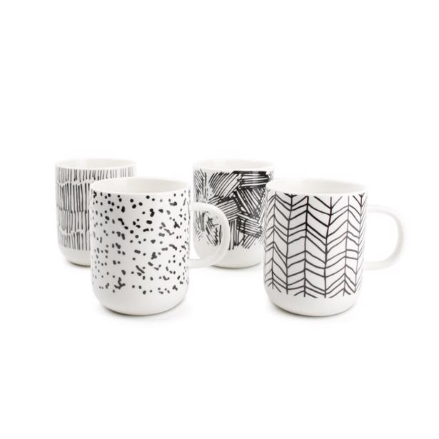 Salt & Pepper - Mug Black Scetch Barista (set van 4)