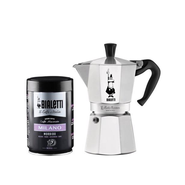 Bialetti - Moka Express Espresso Maker 6 Tassen + Koffie Milano