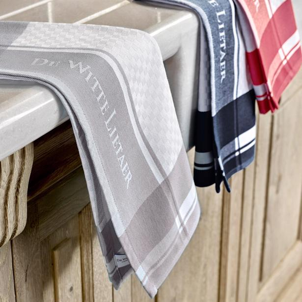 De Witte Lietaer Set van 3 Keuken Handdoeken 50x70cm (white-geranium/gull-gray/dark-navy)
