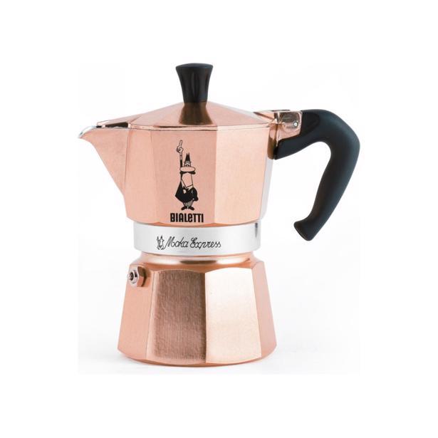 Moka Express Roségold koffiekan voor 3 tassen.