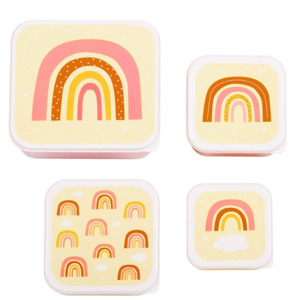A Little Lovely Company  Lunch & Snack Box Set Rainbows 8719715001227