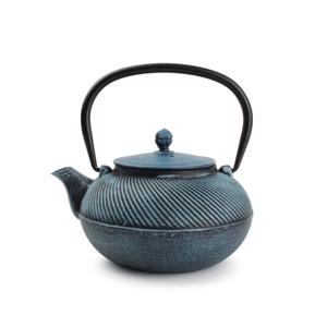 O-Tea Theepot 0,9L Gietijzer Twisting Turquoise  5410595696185