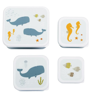 A Little Lovely Company Lunch & Snack Box Set Ocean 8719715001203