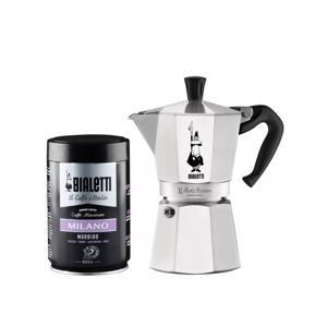 Bialetti Moka Express Espresso Maker 6 Tassen + Koffie Milano 8006363028868