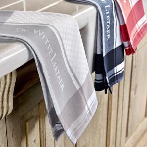De Witte Lietaer Set van 6 Keuken Handdoeken 50x70cm (white-geranium/gull-gray/dark-navy) GEEN EAN CODE