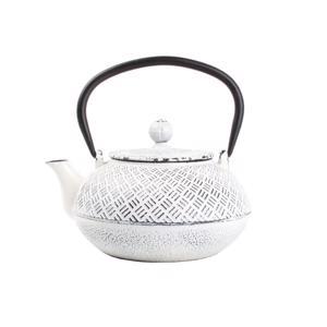 O-Tea Theepot 0.8L Gietijzer Wit op Zwart Kubussen 5410595671472